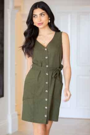 Lola Linen Blend Button Front Dress  - Khaki