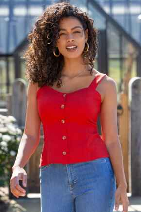 Lola Linen Blend Button Front Cami  - Red