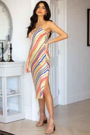 Margot Woven Cami Midi Dress - Rainbow