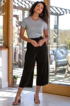Jada Plisse Trouser - Black