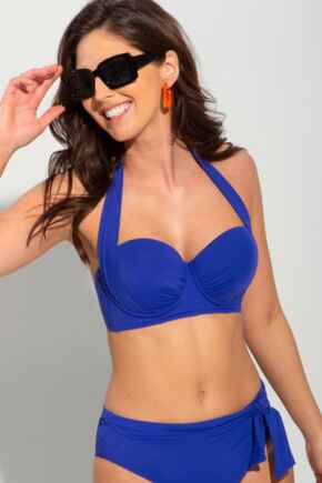 Soleil Lightly Padded Underwired Multiway Longline Top - Cobalt