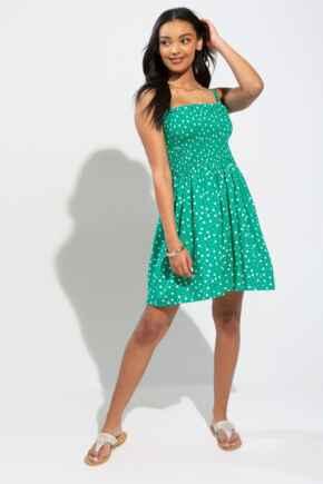 Removable Straps Shirred Bodice Dress  - Green/White