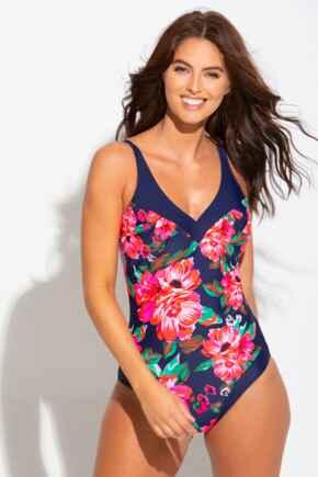 Floral Contour Control Swimsuit - Navy
