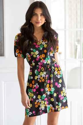 Margot Woven Satin Tea Dress  - Black Floral