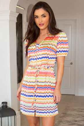 Margot Woven Satin Tea Dress  - Rainbow