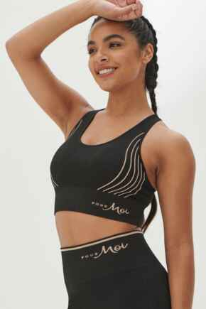Energy Seamless Logo Yoga Crop Top - Black/Copper