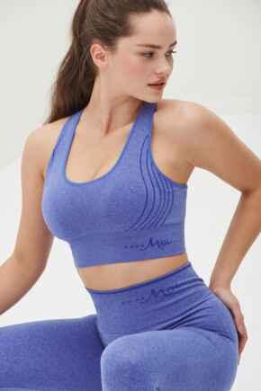 Energy Seamless Logo Yoga Crop Top - Ultramarine Melange
