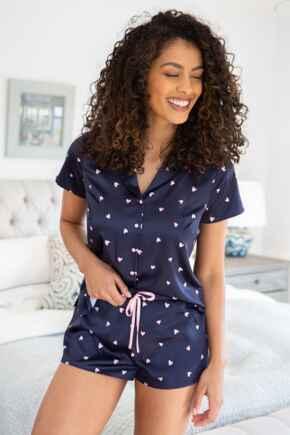 Satin Print Revere Collar Short PJ Set  - Navy/Pink