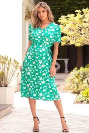 Margot Woven Satin Midi Tea Dress - Green Floral