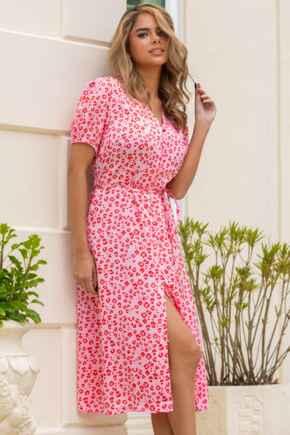 Margot Woven Satin Midi Tea Dress - Red/Pink Animal