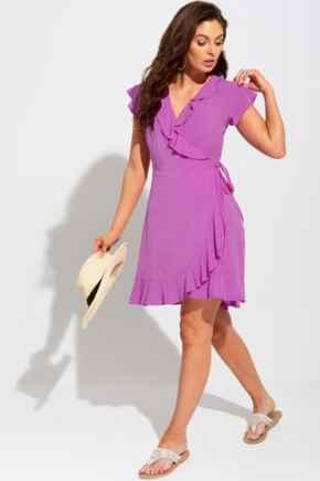 Textured Wrap Woven Beach Dress - Ultraviolet
