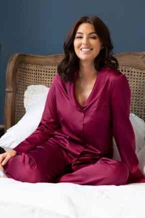 Dusk Satin Pyjama Set - Berry