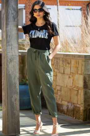 Anna Woven Cargo Trouser  - Khaki
