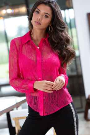 Clara Lace Button Front Long Sleeve Shirt - Bright Pink