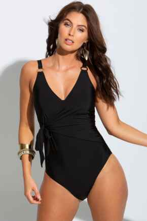 Samoa Wrap Over Control Swimsuit - Black