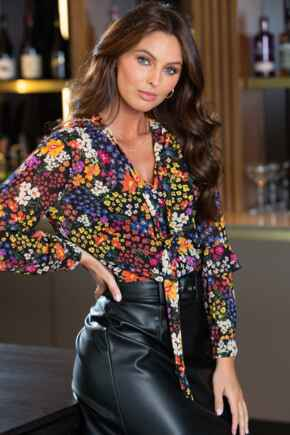 Juliette Chiffon Puff Sleeve Top - Ditsy Floral