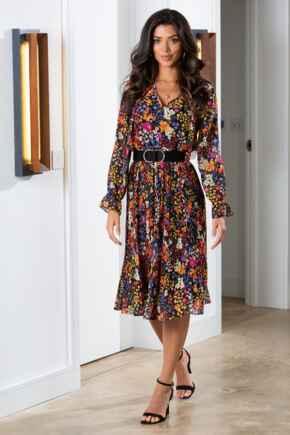 Juliette Chiffon Pleated Midi Dress - Ditsy Floral