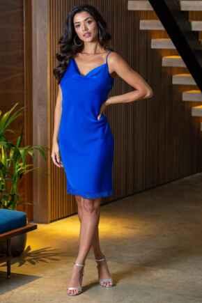 Jade Satin Lace Cami Dress - Cobalt