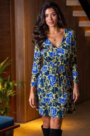 Bella Slinky Recycled Jersey Long Sleeve Tea Dress - Navy/Gold