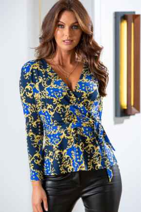 Bella Slinky Recycled Jersey Long Sleeve Wrap Top - Navy/Gold