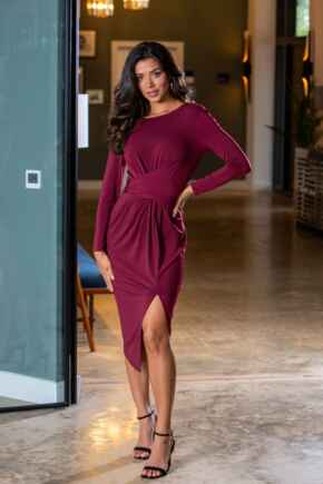 Lara Slinky Jersey Wrap Front Long Sleeve Dress - Berry