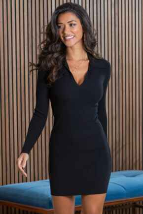 Eva Rib Knit V Neck Collar Mini Dress  - Black
