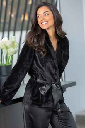 Satin Trim Dressing Gown Jacket - Black