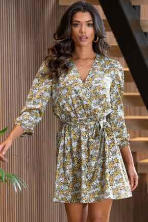 Millie Faux Wrap Woven Satin Dress  - Yellow Ditsy