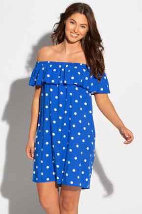 Textured Woven Bardot Beach Dress - Blue/White