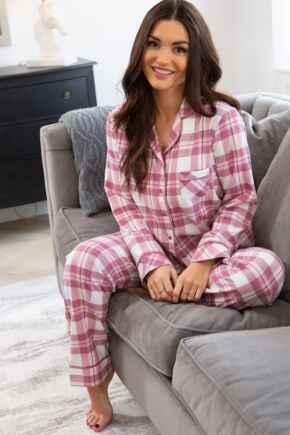 Cosy Check Pyjama Set - Blush/Mink/Ivory