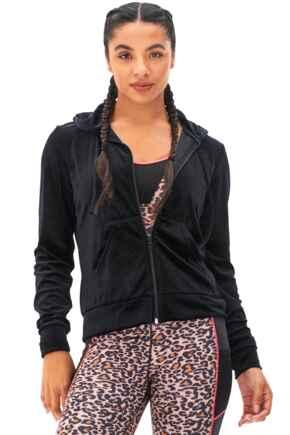 Velour Zip Through Hoodie  - Black
