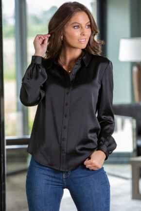 Millie Satin Woven Shirt  - Black