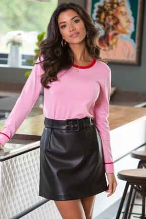 Elise Faux Leather Belted Mini Skirt  - Black