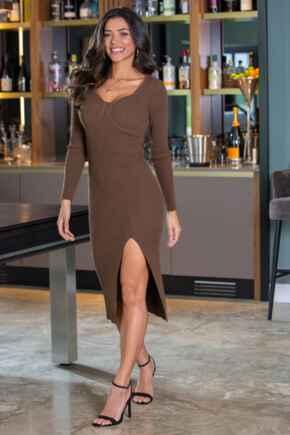 Bodycon Knit Midi Split Dress - Brown