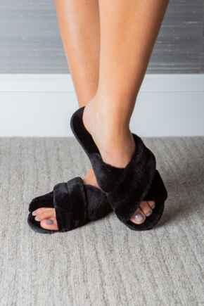 Faux Fur Crossover Slider Slipper  - Black