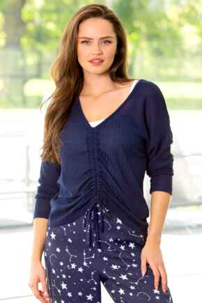 Waffle Knit Ruche Front Long Sleeve Top  - Navy