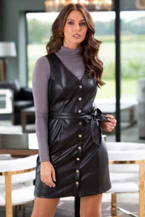 Elise Faux Leather Button Through Mini Dress - Black