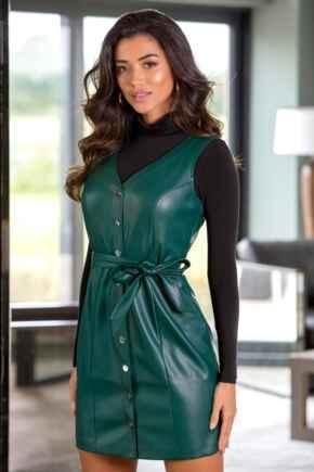 Elise Faux Leather Button Through Mini Dress - Forest