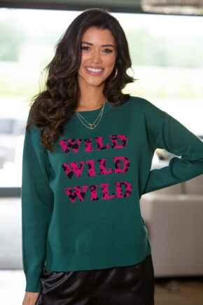 Wild Leopard Jacquard Knit Jumper  - Pink/Forest