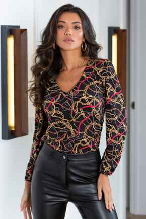 Bryony Slinky Jersey Puff Sleeve V Neck Top  - Black/Gold Chain