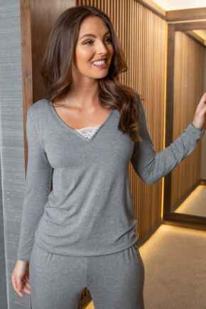 Sofa Loves Lace Secret Support Longsleeve Top  - Dove Grey/Ivory