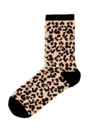 Pippa Leopard Lurex Sock - Natural