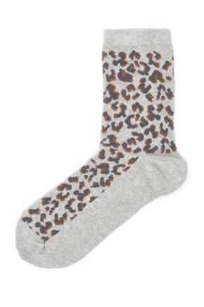 Pippa Leopard Lurex Sock - Grey