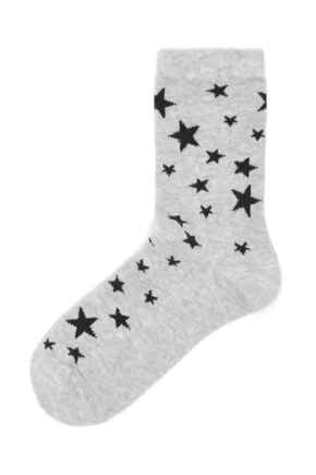 Pippa Star Pattern Lurex Sock - Grey/Black