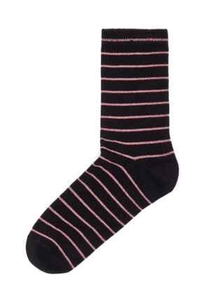 Pippa Stripe Lurex Sock - Black/Rose Gold