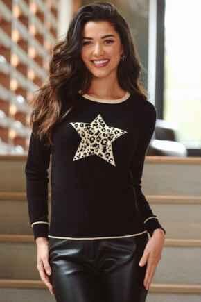 Leopard Jacquard Star Knit Jumper - Black/Gold