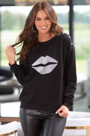 Lips Print Fleeceback Sweatshirt - Black/Silver