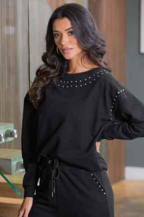 Diamante Trim Fleeceback Sweatshirt - Black