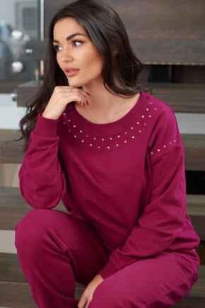 Diamante Trim Fleeceback Sweatshirt - Berry