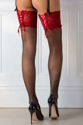 All Tied Up Laced Up 15 Denier Stocking - Black/Red